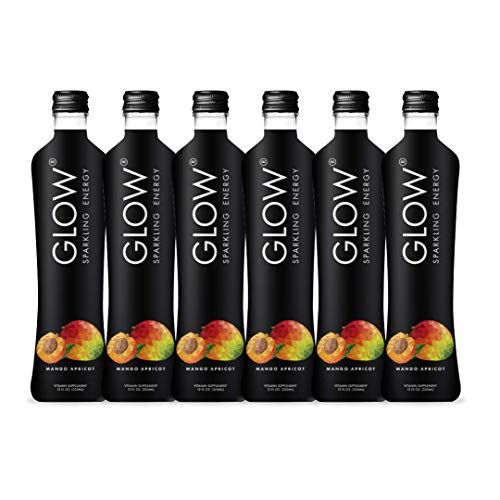 GLOW Beverages Premium Sparkling Infused Energy Drink - 6 Pack 12oz Glass - Mango Apricot - Vitamins & Antioxidants