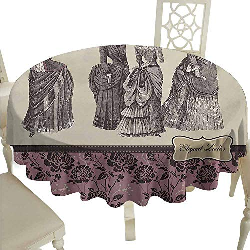 duommhome Victorian Durable Tablecloth Ladies Clothes Fashion History Dress Handbag Feather Gloves Floral Design Print Easy Care D43 Grey Rose