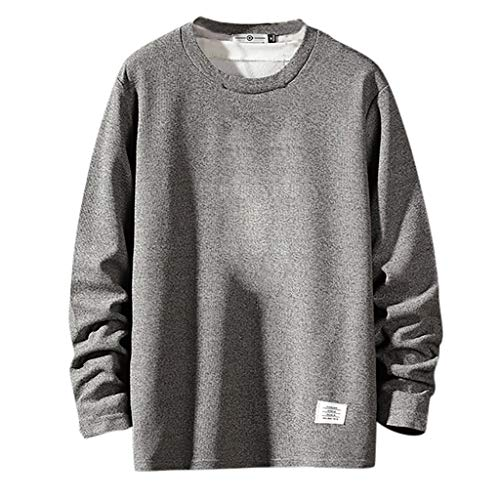 Sunhusing Men's Autumn New Casual Style Solid Color Round Neck Long Sleeve Short Pullover Sweatshirt T-Shirt Gray