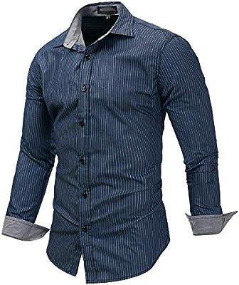LIUXING-TUMI Camisa de Vestir a Rayas para Hombre, Camisa de Manga Larga de algodón, Cuello