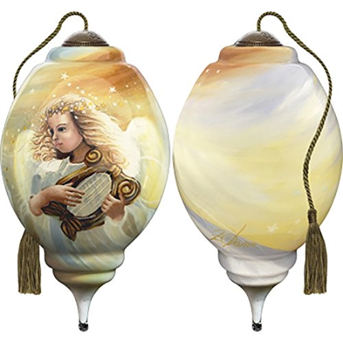Ne'Qwa Art Hand Painted Blown Glass Ornament, Angel Harp