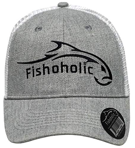 Fishoholic Snapback Grey White Baseball Fishing Hat Black Logo on Front and Bend Your Rod on Back. Fishaholic Registered Trademark. Fly Fish for Bass Trout in Fresh or Saltwater. (snap-Grey)