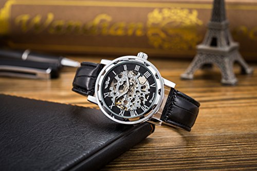 Men's Watch, Mechanical Skeleton Steampunk Design Automatic Self-Winding Roman Numeral Silver Case PU Leather Wrist… 7