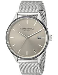 Kenneth Cole New York Mens Classic Quartz Stainless Steel Dress Watch, Color:Silver-Toned (Model: 10030838)