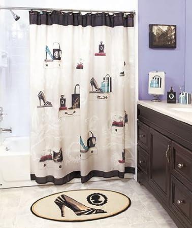 Fashionista Glam Old Hollywood Paris Couture Shoes Purse Fashion Bath Ensemble Shower Curtains 2pc Hand