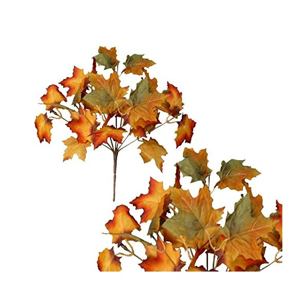 AG Silk Floral 13″ Yellow Gold & Green Maple Leaf (Pack of 24) Picks Holidays Autumn Decorations