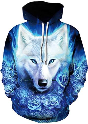 neiges sac capuche loup imprimé Eudolah à Hiver Pull main et des Automne Homme rose à Un Pullover à WqnSHCXan