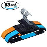 IEOKE Plastic Hangers, Clothes Hangers Light-weight Non Slip Coat Hangers Ultra Thin Space Saving with Heavy Duty- 50 pack (50)