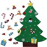 aerwo 3ft diy felt christmas tree set 26pcs detachable ornaments wall hanging xmas gifts - Blue Silver Christmas Tree Decorations