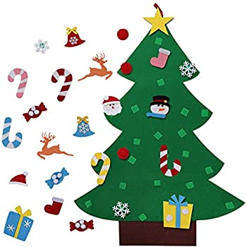 aerwo 3ft diy felt christmas tree set 26pcs detachable ornaments wall hanging xmas gifts