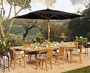 "New 9 Pc Luxurious Grade-A Teak Dining Set - Very Large 122"" Caranasas Double Extension Rectangle Table & 8 Giva Chairs (6 Armless & 2 Arm / Captain) (*ON SALE*)"