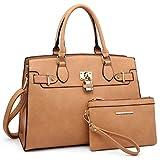 Women Handbag Designer Purse Fashion Ladies Shoulder Bag Top Handle Satchel Bag  with Pouch (02 Litchi Leather- Tan)
