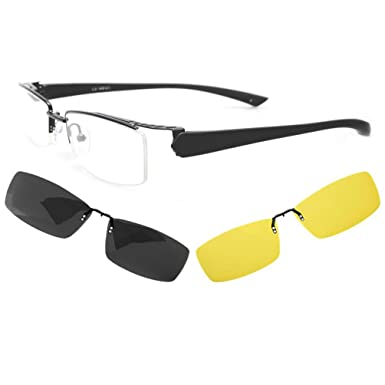 5e0d0389e61 Image Unavailable. Image not available for. Color  LUFF Men Polarized  Magnetic Clip-On Sunglasses Optical Glasses for Driving ...