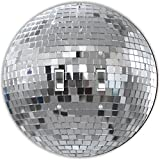 Rikki Knight RND-LSPDBL-82 Mirrored Disco Ball Round Design Double Toggle Light Switch Plate, Silver