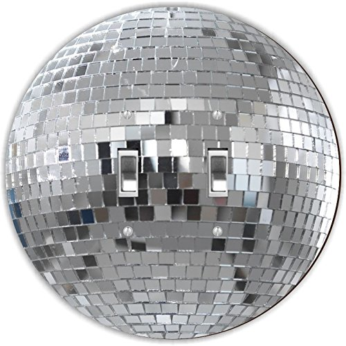 Rikki Knight RND-LSPDBL-82 Mirrored Disco Ball Round Design Double Toggle Light Switch Plate, Silver by Rikki Knight