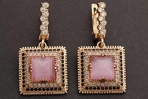 (Turkish Handmade Jewelry Square Shape Princess Cut Rose Gold Pink Cat's Eye Quartz and Round Cut Black White Topaz 925 Sterling Silver Dangle/Drop Earrings)