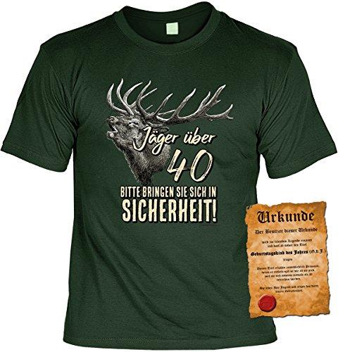 T-Shirt mit Urkunde - Jäger über 40 - bringen Sie sich in Sicherheit - Geschenk Set mit lustigem Spruch als ideales Geburtstagsgeschenk