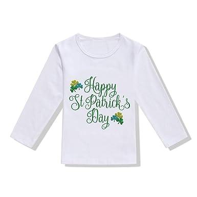 07e5e3877ce1e T-Shirt Manches Longues Bébé Fille Garçons - Sunenjoy Saint Patrick Haut  Lettre Trèfle Imprimé T-Shirt Tops Printemps Été pour Fête Nationale  Irlandaise ...