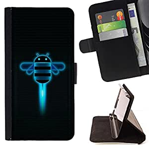 For Apple Iphone 6 PLUS 5.5 Funny Androd Bee Robot Beautiful Print Wallet Leather Case Cover With Credit Card Slots And Stand Function