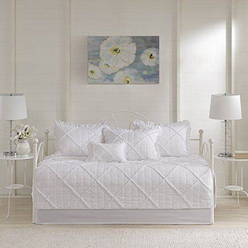 Wendy White 6 Pieces Quilted Daybed Cover Set with Ruffle/ Pleating Details