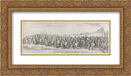 Stefano Della Bella - 24x14 Gold Ornate Frame and Double Matted Museum Art Print - Entry of The Polish Ambassador into Rome ()