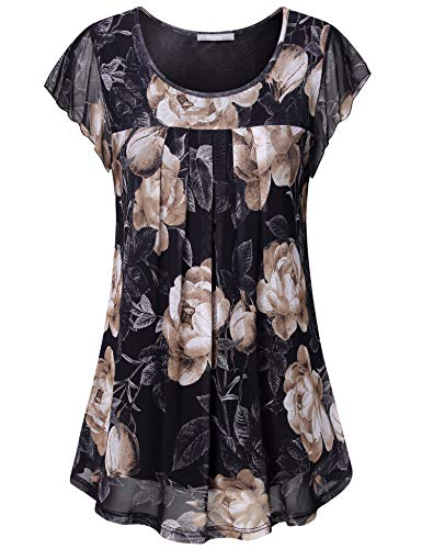 Furnex Womens Blouses and Tops for Work, Ladies Business Tops Plus Size Floral Blouse for Women Loose Shirts Round Neck Lightweight Office Wear Tops for Legging for Women Black Coffee XXX-Large