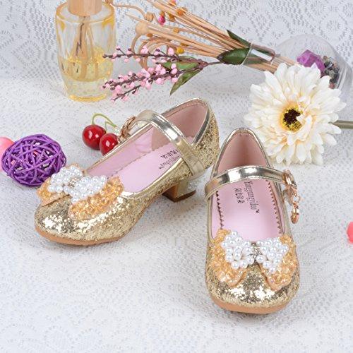 HBOS Kinder Mädchen Prinzessin Ballett Kinderschuhe PU-Leder Leuchtend Boots Gold