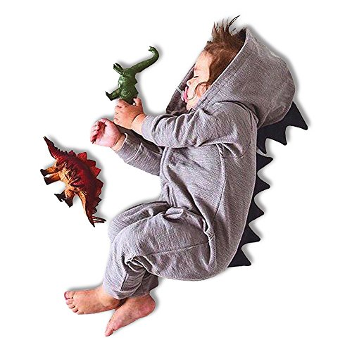 [Cotton Dinosaur Romper Hooded Jumpsuit 100% Cotton Bodysuit For Girl Boy Long Sleeve Hooded Baby Costumes Jumpsuit (Medium, Grey)] (Plus Size Baseball Girl Costume)