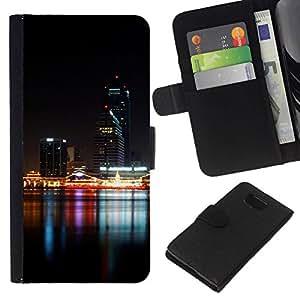 All Phone Most Case / Oferta Especial Cáscara Funda de cuero Monedero Cubierta de proteccion Caso / Wallet Case for Samsung ALPHA G850 // Night Time Modern City River