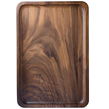 Bamber Wood Serving Trays, Wooden Decorative Trays, Serving Platters for Tea Coffee Wine, Premium Quality, Eco-friendly, Rectangular - Black Walnut (M Size)