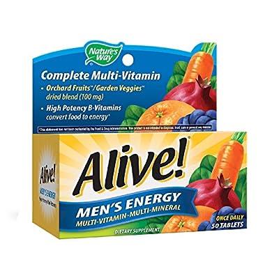 Nature's Way Alive!® Men's Energy Multivitamin Tablets, Fruit and Veggie Blend (100mg per serving), 50 Tablets