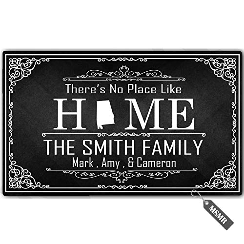 Monogram Alabama - MsMr Personalized [Your Name] Indoor Outdoor Door Mat Custom Doormat Monogram Design Home Welcome Mat There's No Place Like Home Alabama Doormat 23.6