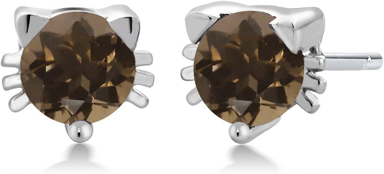 Round Smoky Brown Quartz Stud Earrings