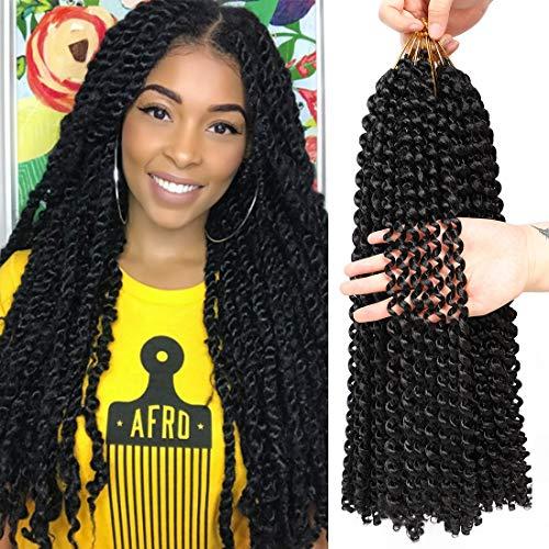 Passion Twist Hair 18 Inch Braiding Freetress Water Wave for Passion Twist Crochet Braids Synthetic Pre Looped Curly Crochet Hair for Passion Twist (1B) (Best Hair To Use For Crochet Braids)