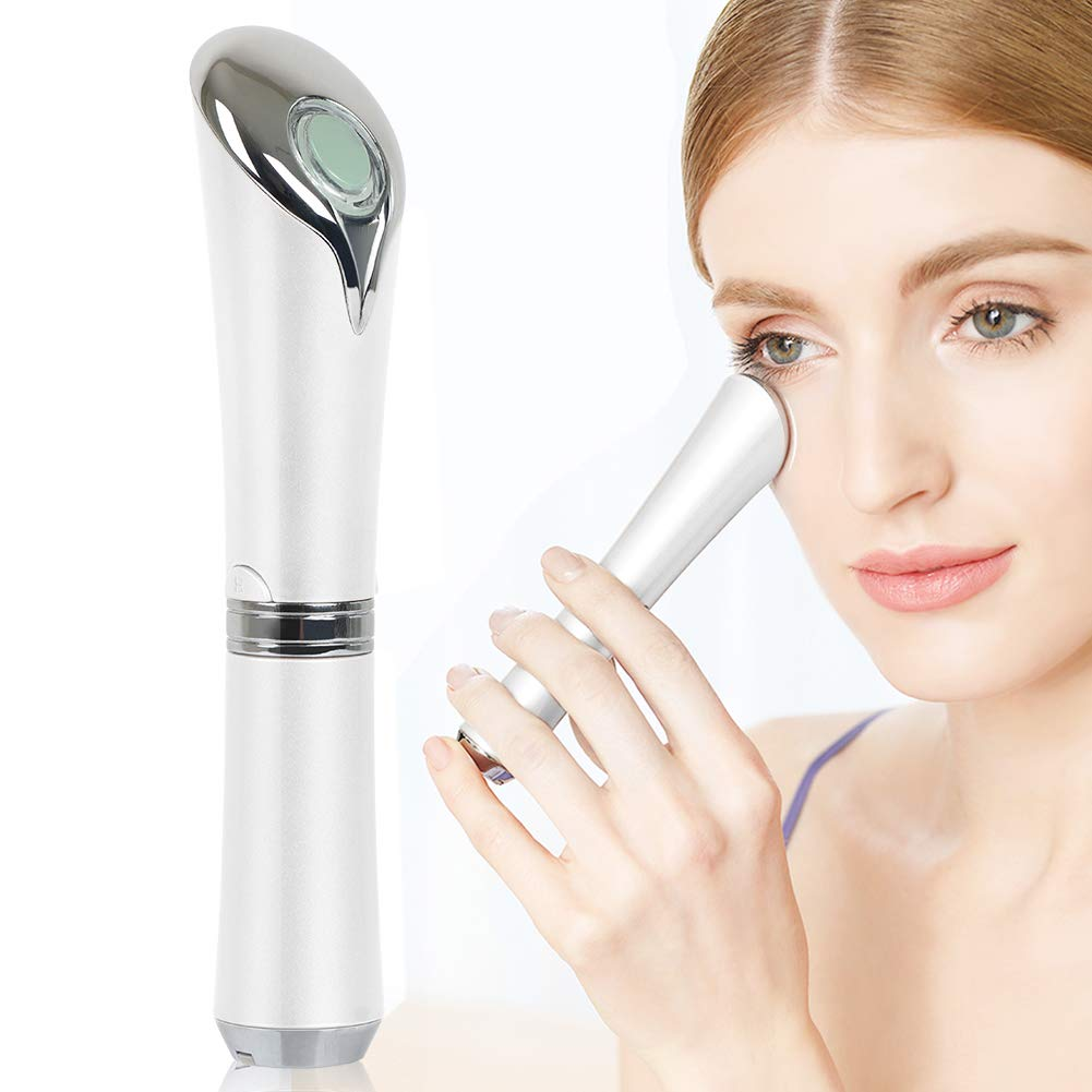 Eye Massager,CleanDell Ionic Eyes Facial Massager Wand with 42 ℃ Heated,Dark Circle Remover,Eliminate Eye Bags&Puffy Eye and Anti-Aging Firming Facial (Green Jade Roller) (White2)