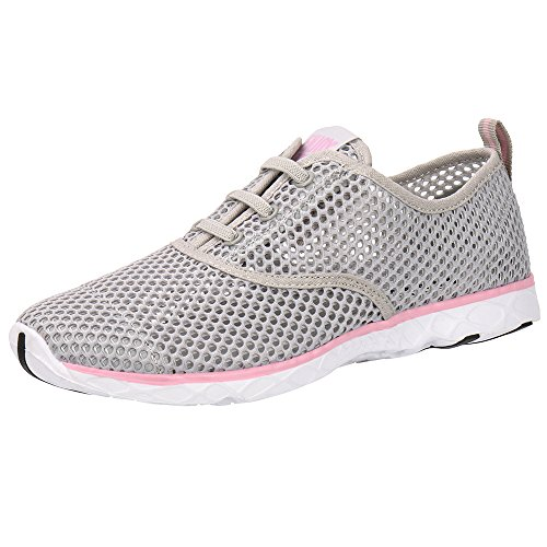 - ALEADER Women's Quick Drying Aqua Water Shoes Light Gray/Pink 7 D(M) US/FR 37