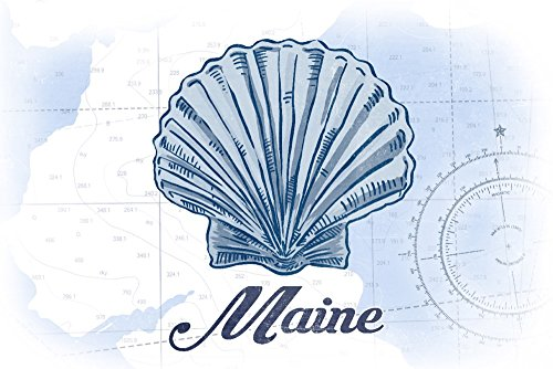 Maine - Scallop Shell - Blue - Coastal Icon (16x24 SIGNED Print Master Giclee Print w/Certificate of Authenticity - Wall Decor Travel Poster)