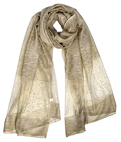 Richly Embroidered Silk (Peach Couture Lightweight Sheer Glitter Scarf Shawl Wrap (Beige))