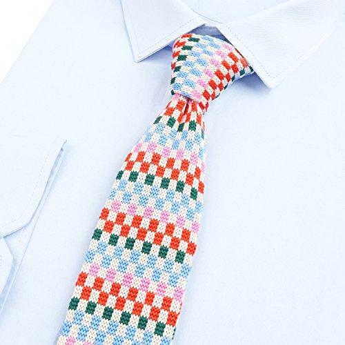 a Albicocca Plaid lavorato Tie Blue Man Alizeal Thin maglia BWqfp7qT