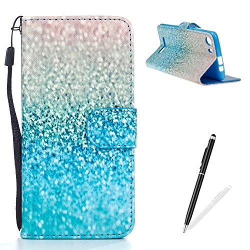 Feeltech Samsung Galaxy A510/A5 2016 Funda,Elegante Cuero de la PU Carcasa de la Cartera del Tirón [Cierre Magnético] Impresión de Patrón de Dibujo Divertido Clásico Folio Estilo de Libro Diseño Caso  Plata Azul Arena