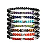 Me&Hz Lava Rock 7 Chakra Beads Healing Bracelets Yoga Meditation Prayer 4mm Stretch Bracelet for Women