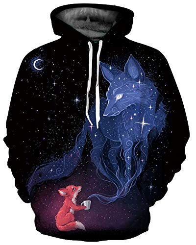 GLUDEAR Unisex 3D Patterns Print Athletic Pullover Fashion Hoodie Hooded Sweatshirts,Galaxy ()