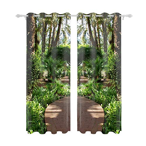"""Cecil Beard Polyester Blend Curtains - Fashion Pattern Print Curtain Window Curtain Panels for Living Room Path Fern Turn Garden - 84"""" W x 55"""" L - (Set of 2 Panels) from Cecil Beard"""
