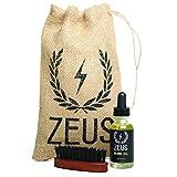 Zeus Beard Oil Kit for Men - Natural Beard Conditioner Softener Kit with 100% Boar Bristle Beard Brush (Unscented)