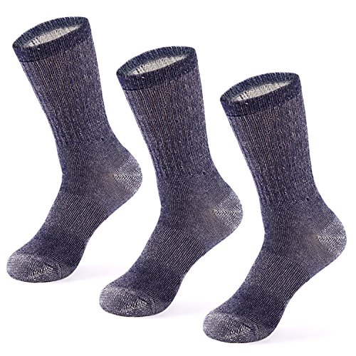 MERIWOOL Merino Wool Blend Outdoor and Boot Crew Socks Pack of 3 Pairs - Large/Blue (Work Sock Wool)