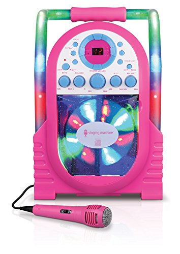 Singing Machine Portable Vertical Load CDG Player with Disco Effect, Pink