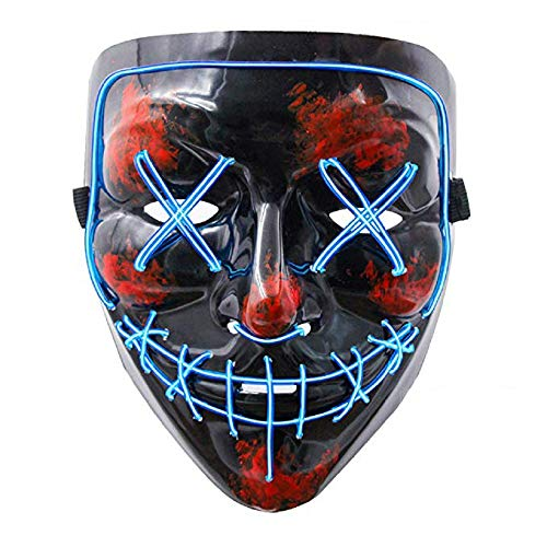 LED Halloween Mask - Halloween Scary Cosplay Light up Mask, EL Wire Mask Glowing mask for Halloween Festival Party Blue -