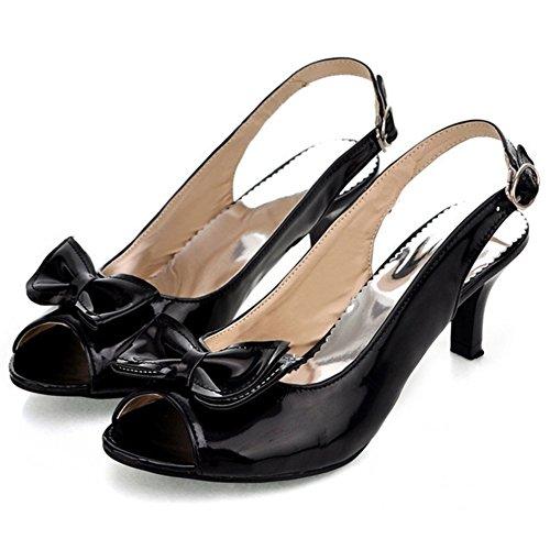 Summerwhisper Women's Sexy Peep Toe Bowknot Buckled Slingback Kitten Heel Patent Leather Sandals Black 7 B(M) US