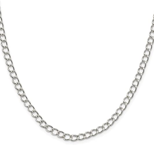 925 Sterling Silver 4.5mm Half round Wire Curb Chain