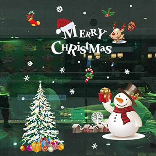CapsA Christmas Wall Sticker Santa Claus Window Stickers Removable Wall Decals DIY Home Decor Glass Door Decal Showcase Stickers Decoration for Christmas New Year (D) (Hallmark Selling Ornaments)